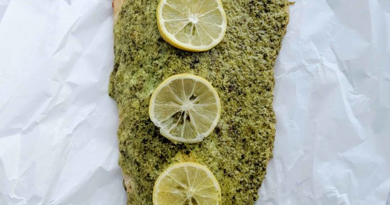 Herb, Asiago, & Roasted Garlic Crusted Salmon