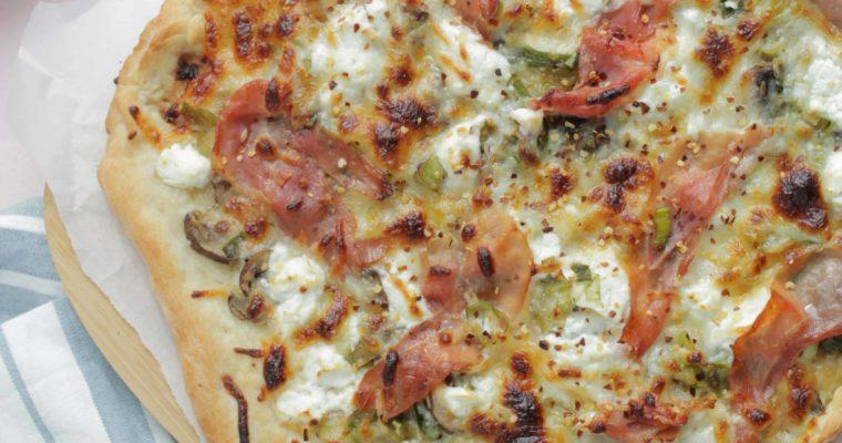 Mushroom, Leek, and Prosciutto Pizza