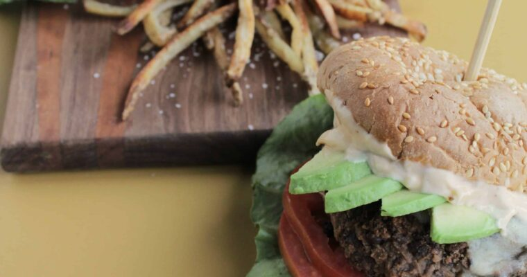 Healthy Southwest Black Bean & Mushroom Veggie Burger with Spicy Chipotle Aioli