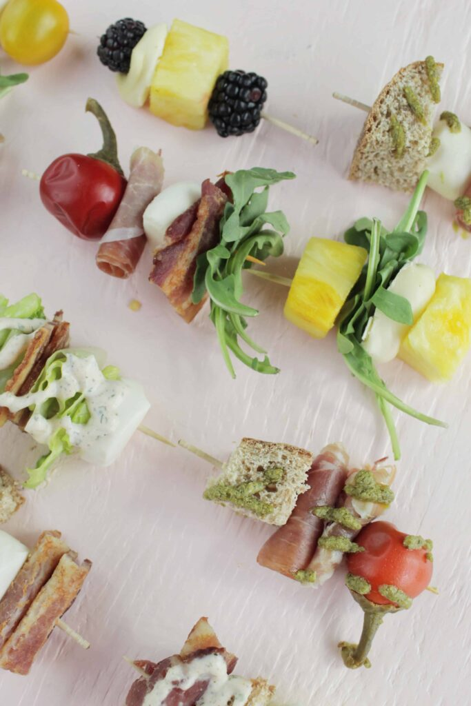 upclose photo of no cook appetizer skewers