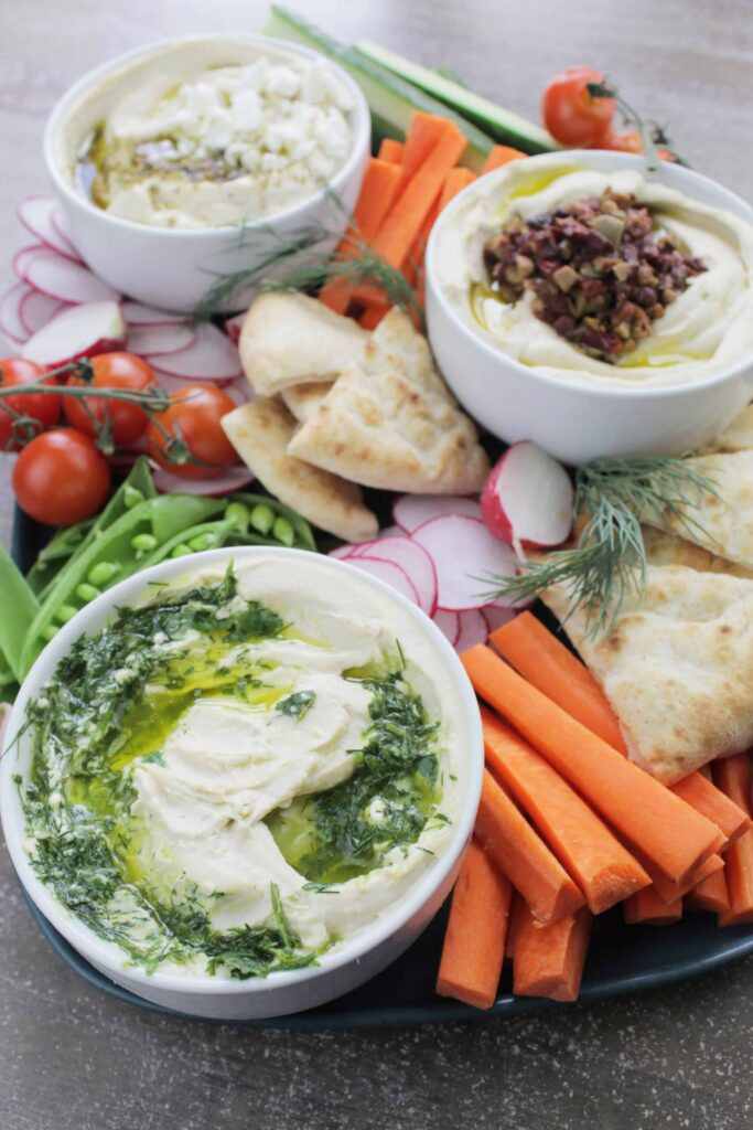 mezze platter with hummus and pita