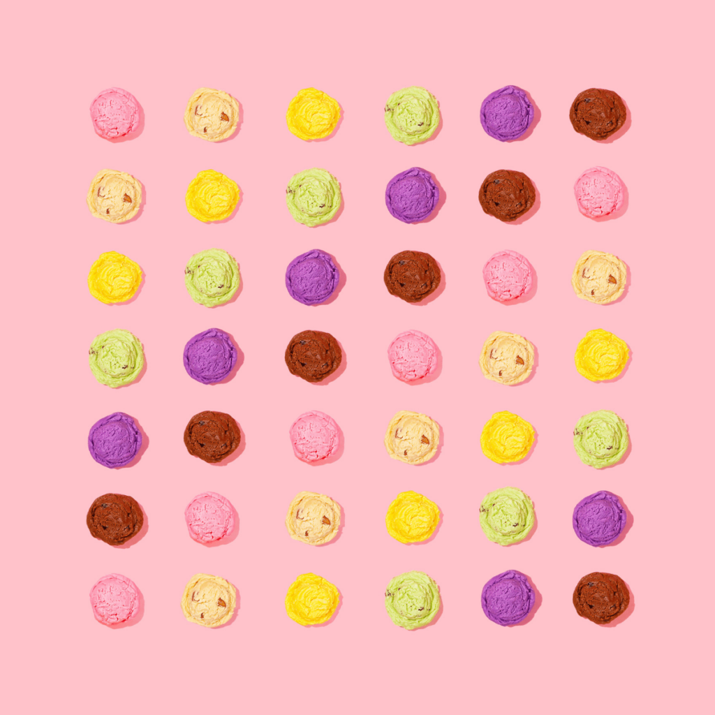 various ice cream flavors on pink background