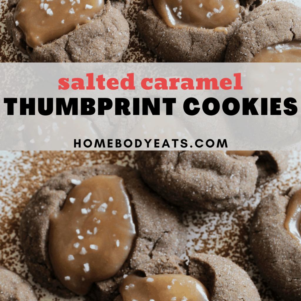 gooey salted caramel thumbprint cookies