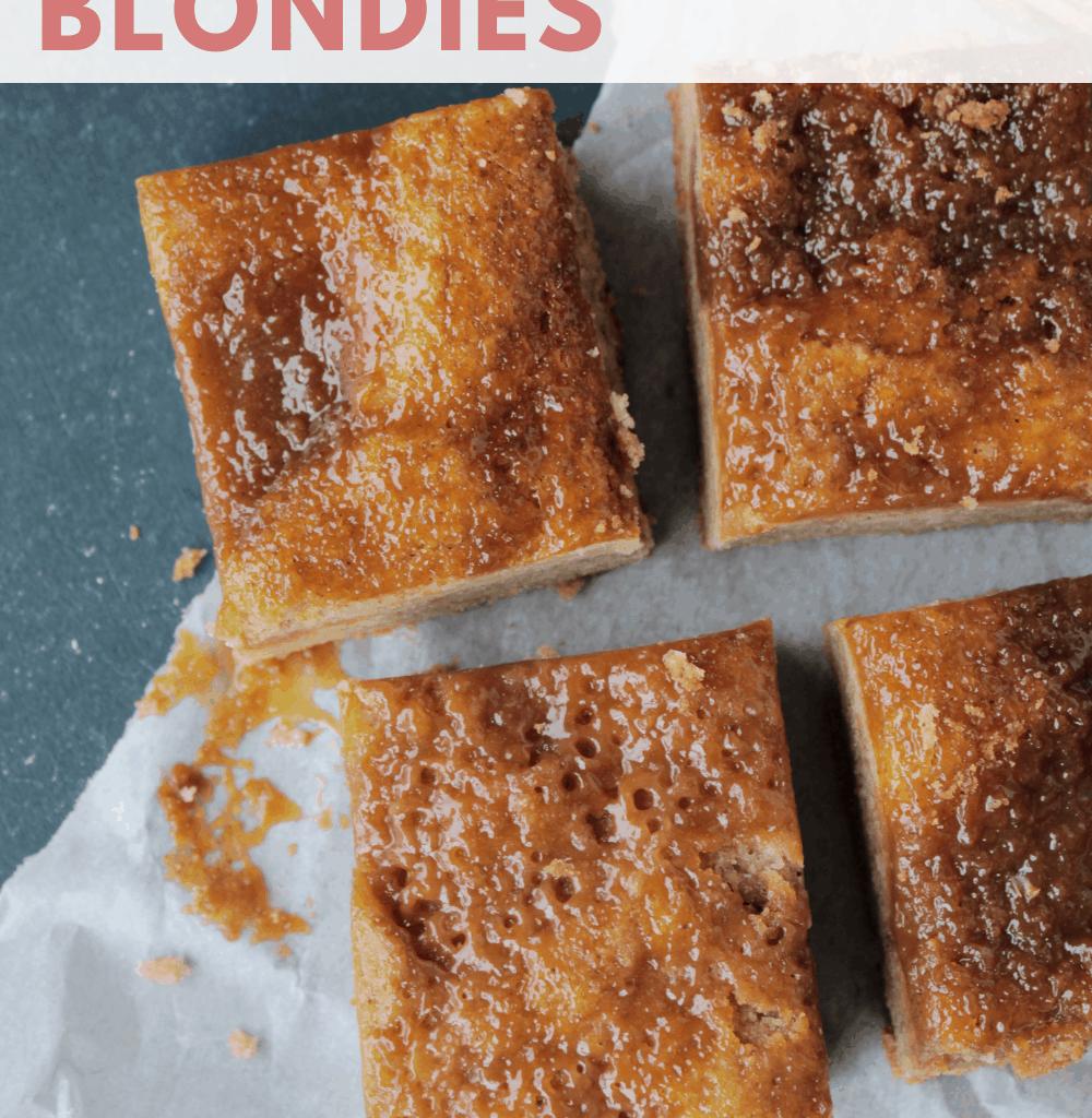 chewy caramel blondies pin